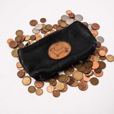 Small Leather Bag with Brown Dachshund Insignia