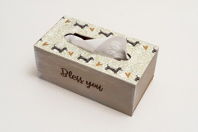 ​TISSUE HOLDER BOX - Grey/Teal pattern