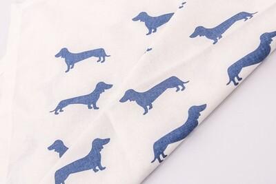 Dachshund Dish/Tea Towel - Blue dogs