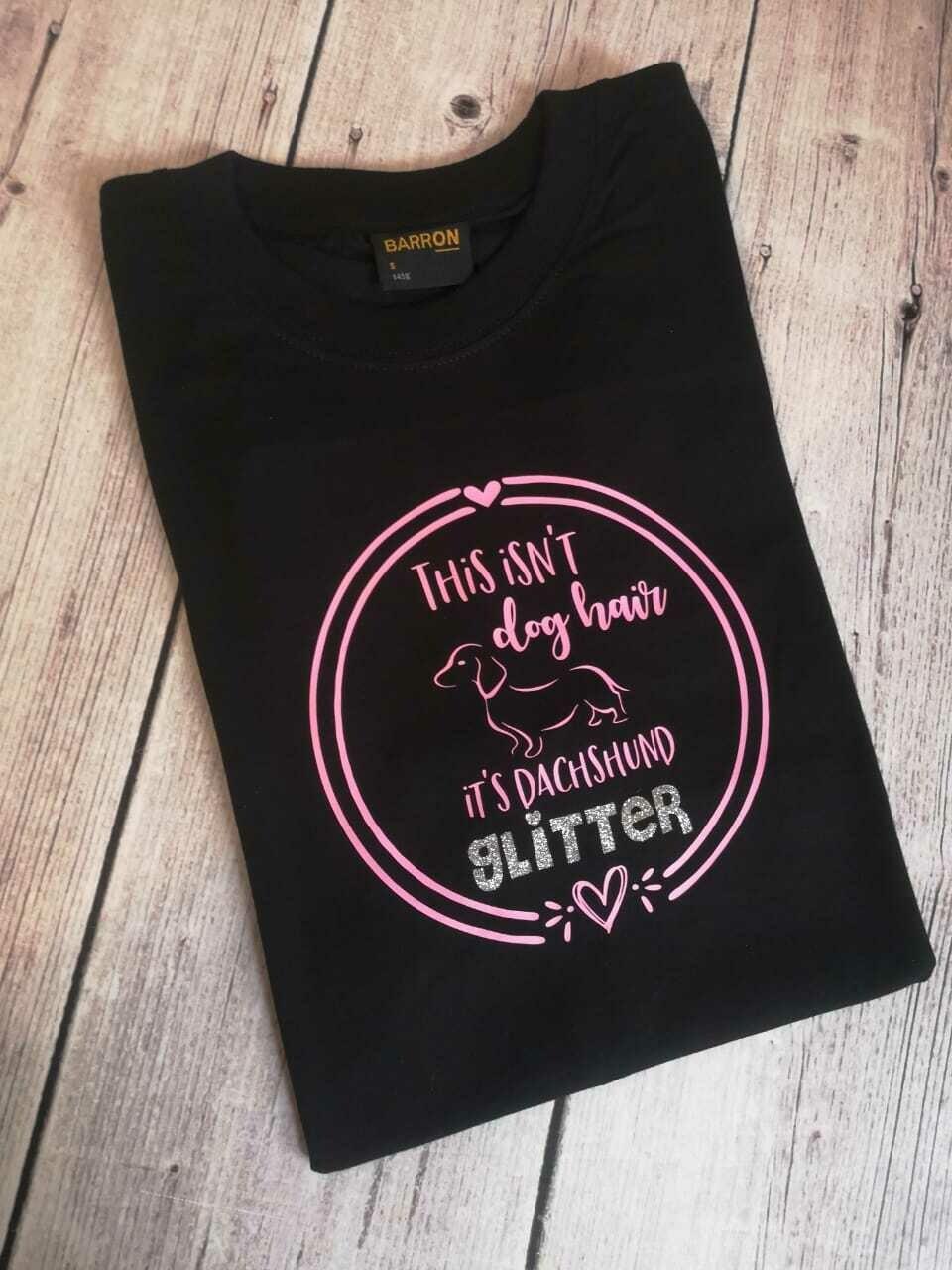 Dachshund Glitter T-Shirt - Black - LADIES CUT