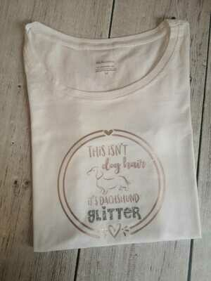 ​Dachshund Glitter T-Shirt - White - Short Sleeve - LADIES CUT