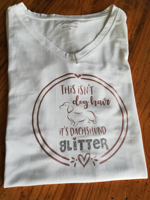 Dachshund Glitter T-Shirt - White - Short Sleeve - LADIES CUT (V-Neck)
