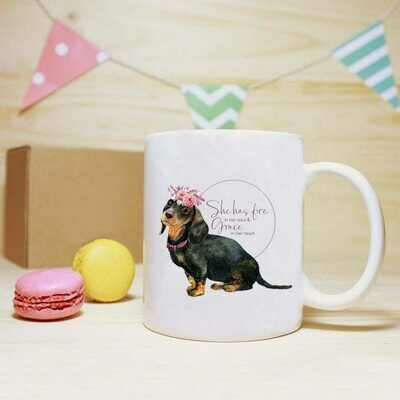 She has Fire in her Soul Mug - Black Dachshund
