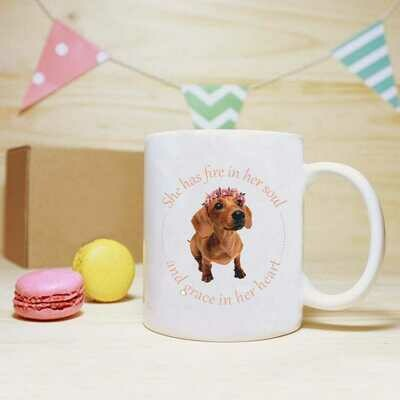 She has Fire in her Soul Mug - Brown Dachshund