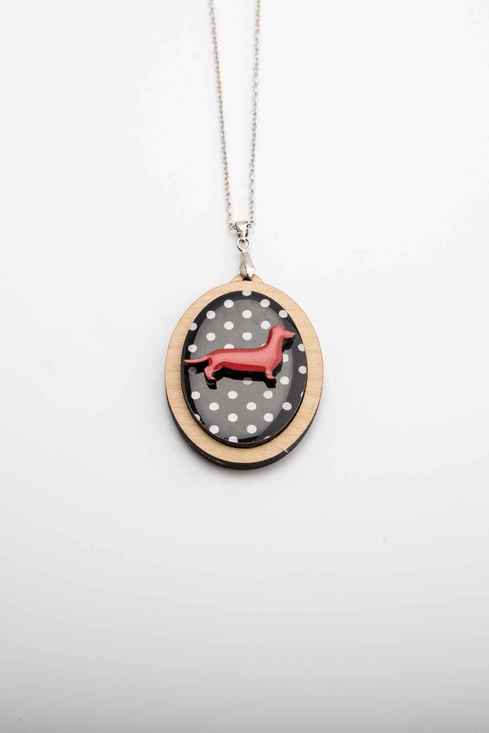Red Dachshund on black polka dot background - Pendant & Chain