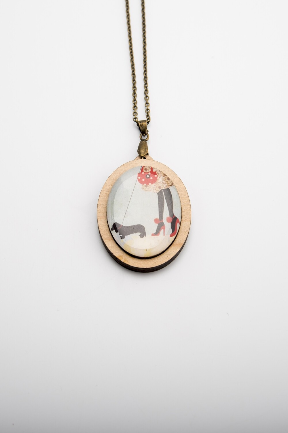 Lady with Dachshund at her feet - Pendant & Chain