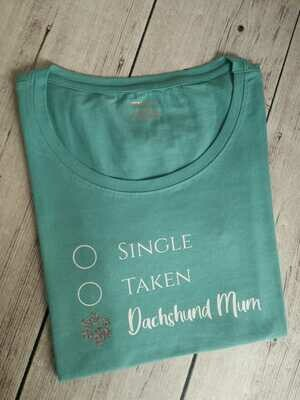 ​​Dachshund Dating Range T-Shirt 1 - Blue/Green - Short Sleeve - LADIES CUT (Round-Neck)​