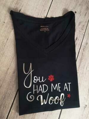 ​Dachshund Dating Range T-Shirt 2 - Navy - Short Sleeve - LADIES CUT (Round-Neck)