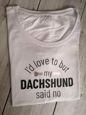 Dachshund Dating Range T-Shirt 3 - White - Short Sleeve - LADIES CUT (Round-Neck)