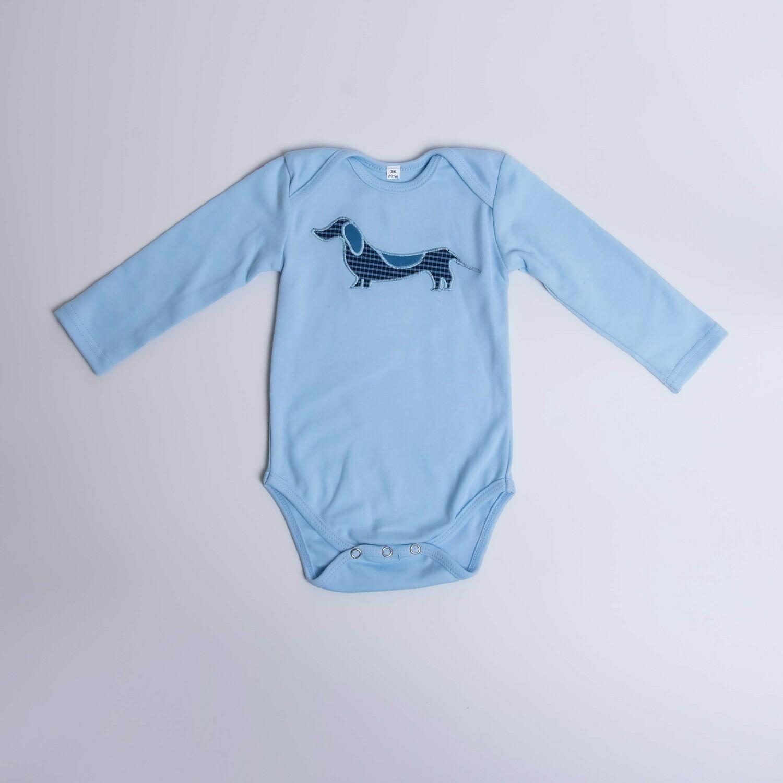 Dachshund Baby Vest – Long Sleeve – Checked Dog