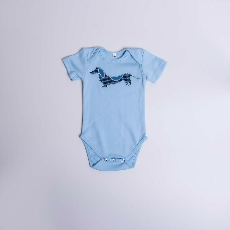 Dachshund Baby Vest -Short Sleeve – Checked Dog