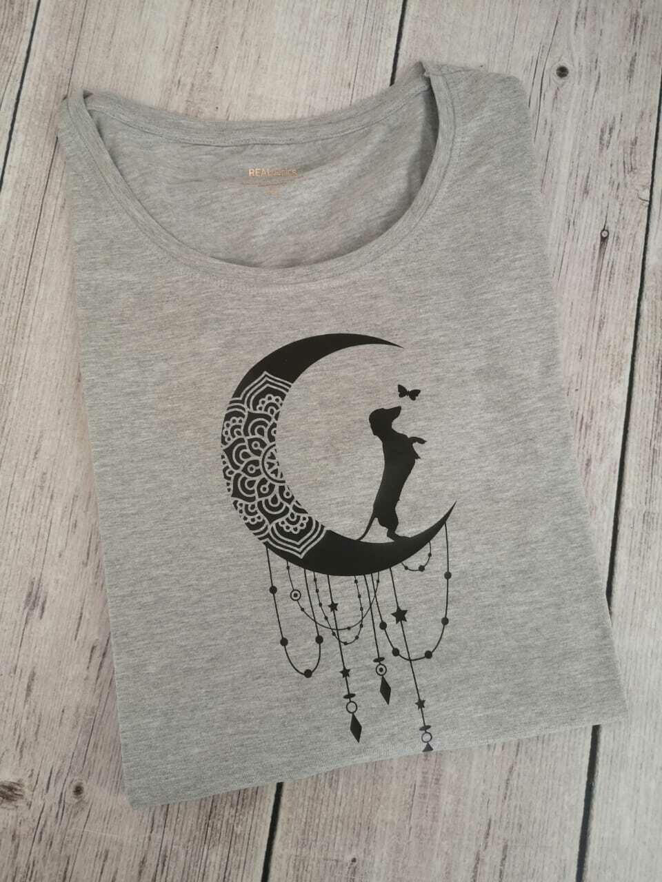 Light Grey Long Sleeve T-Shirt - Black Print
