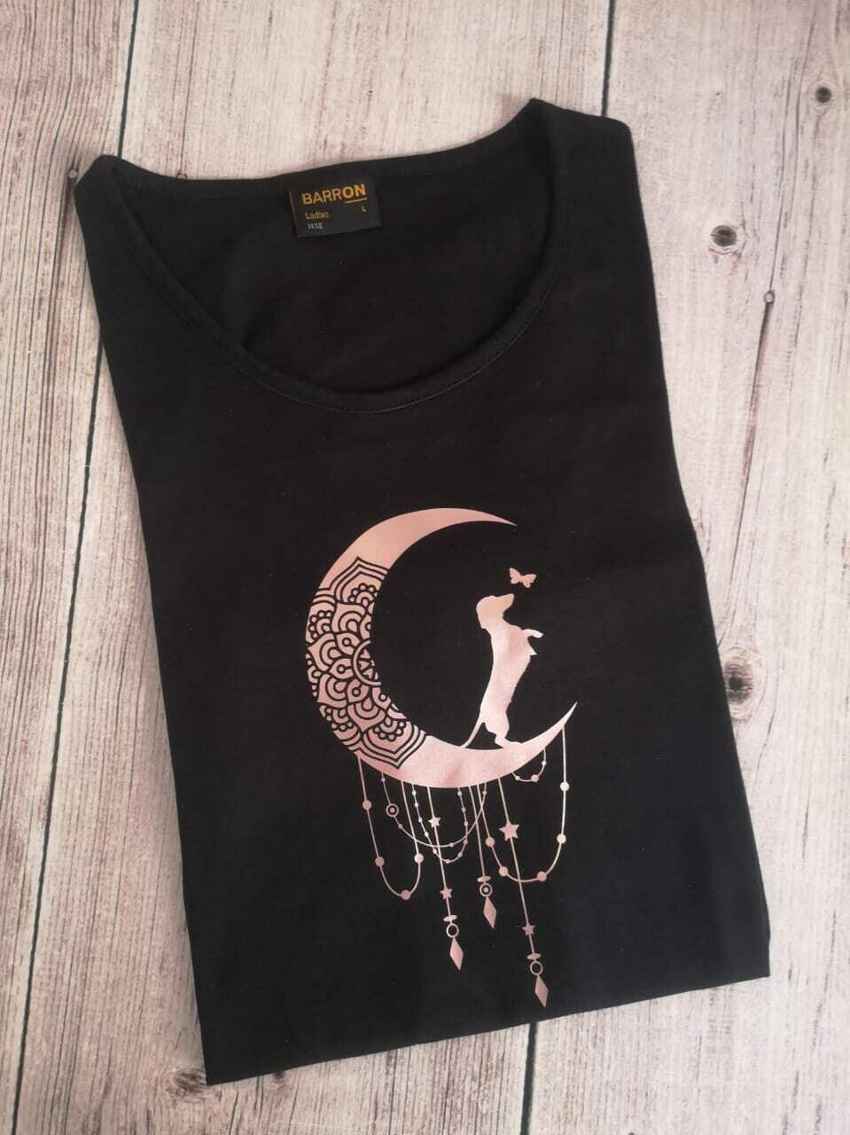 Black Long Sleeve T-Shirt - Rose Gold Print (Round Neck)