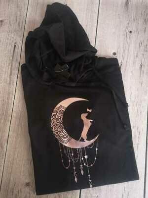 Black Hoodie -Rose Gold Print