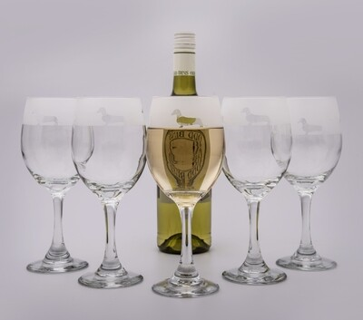 Dachshund White Wine Glasses