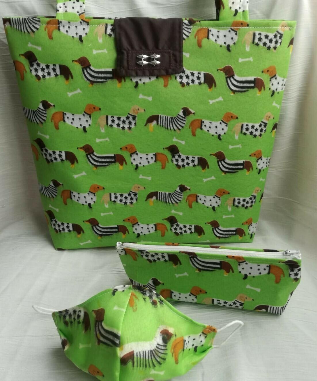 Bag, Make-up Bag and Mask Set - Green