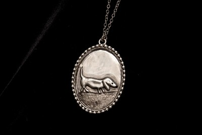 Pewter Pendant on chain - Chubby Dog
