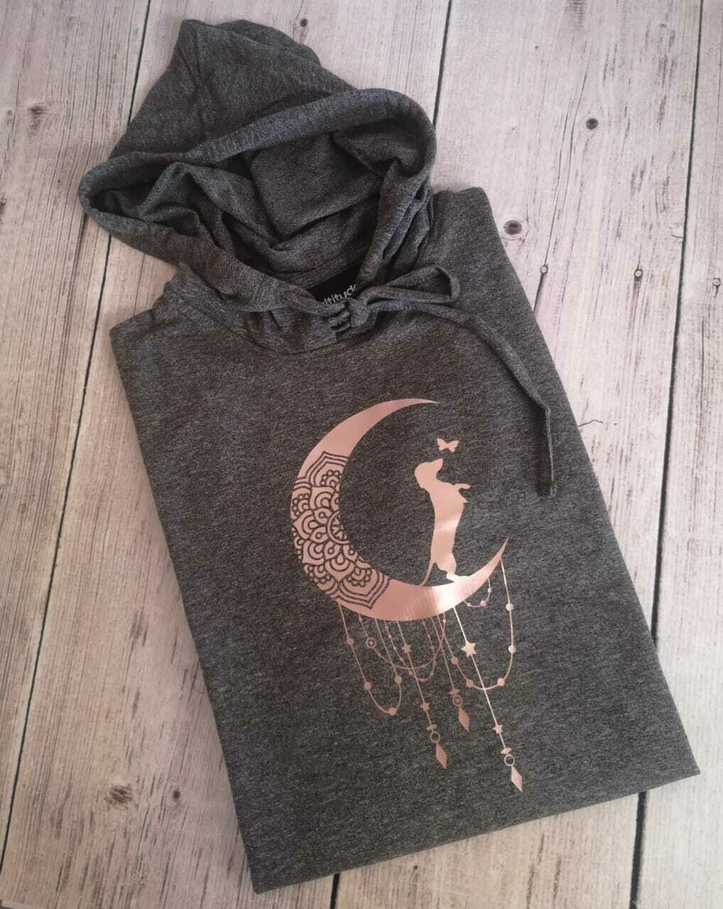 Dark Grey Hoodie - Rose Gold Print