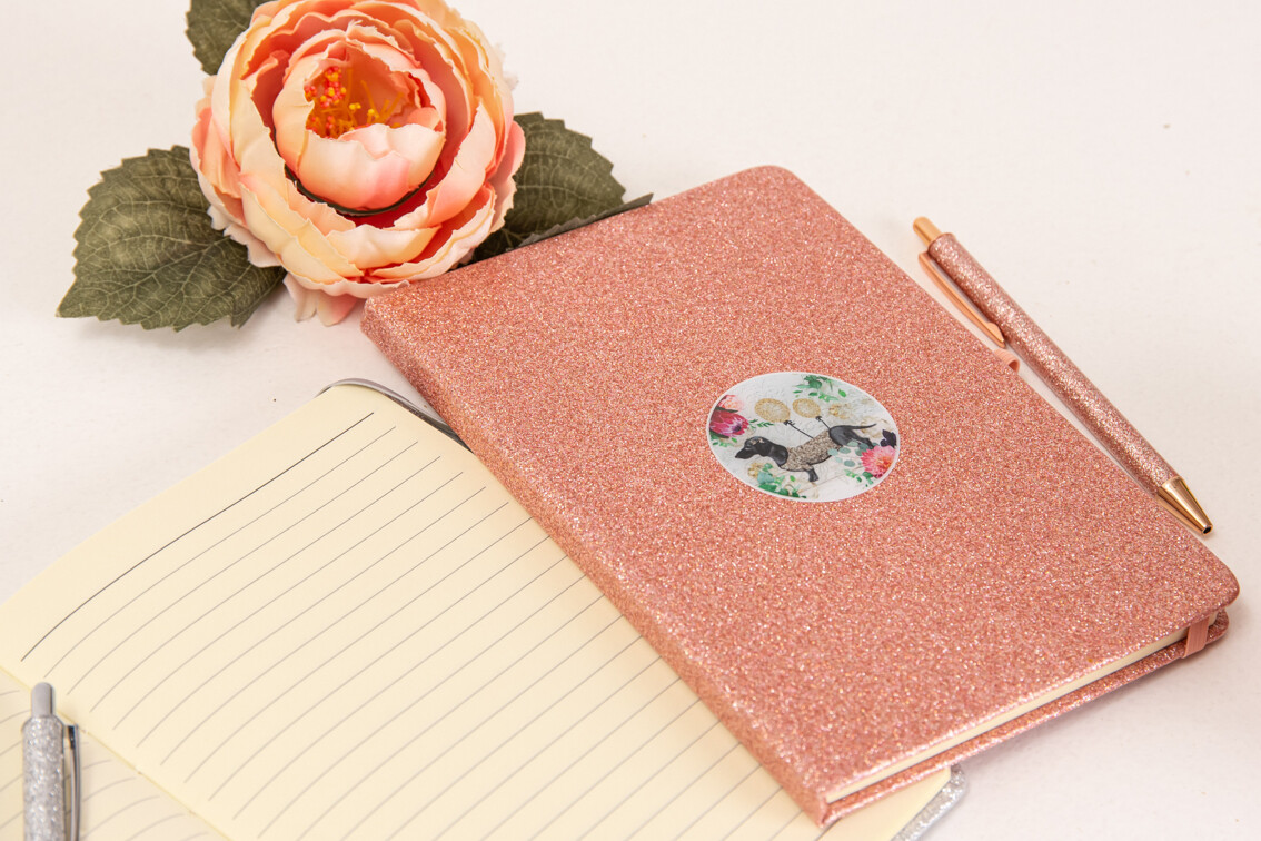 Glitter Notepad with matching Pen - Rose Gold