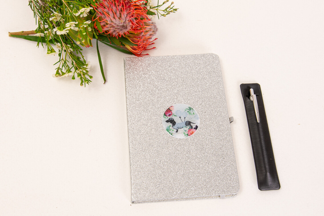 Glitter Notepad with matching Pen - Silver