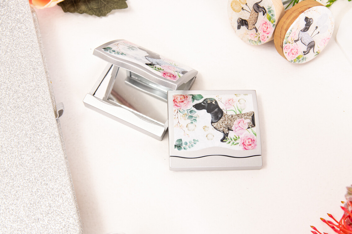 Ladies Compact Mirror - Silver Or Gold