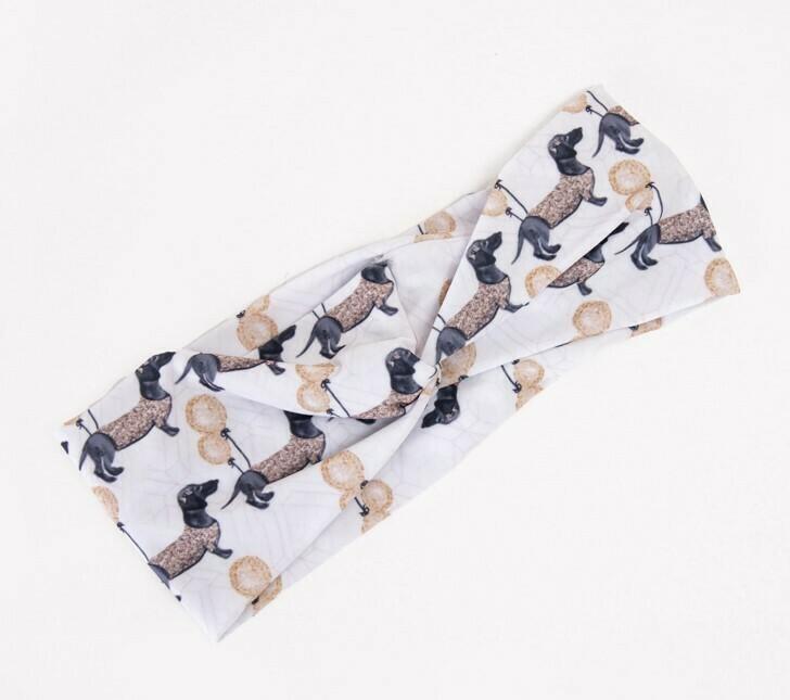 Spring Dachshund Headbands - Design 1 - Gold