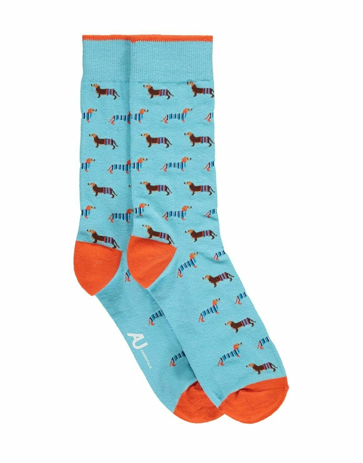 Blue socks with small Dachshund pattern