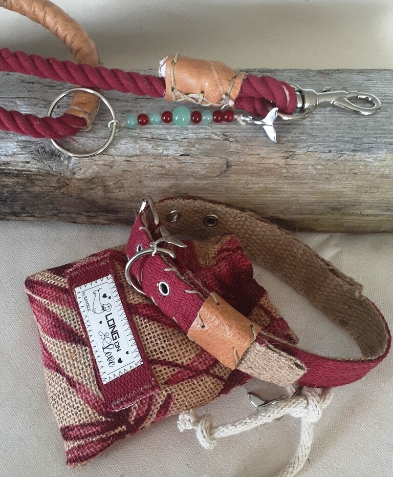 Dog Lead, Pouch and Collar sets - Berry
