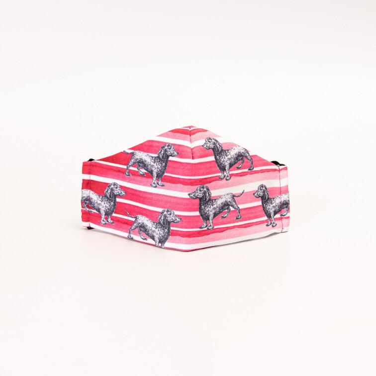 Dark Pink Dachshund Mask - Design 2