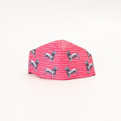 Dark Pink Dachshund Mask - Design 1
