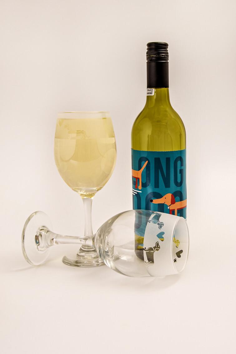 Dachshund White Wine Glasses