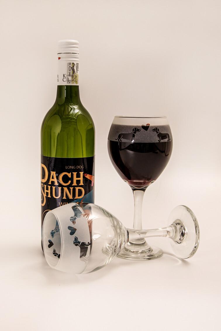Dachshund Red Wine Glasses