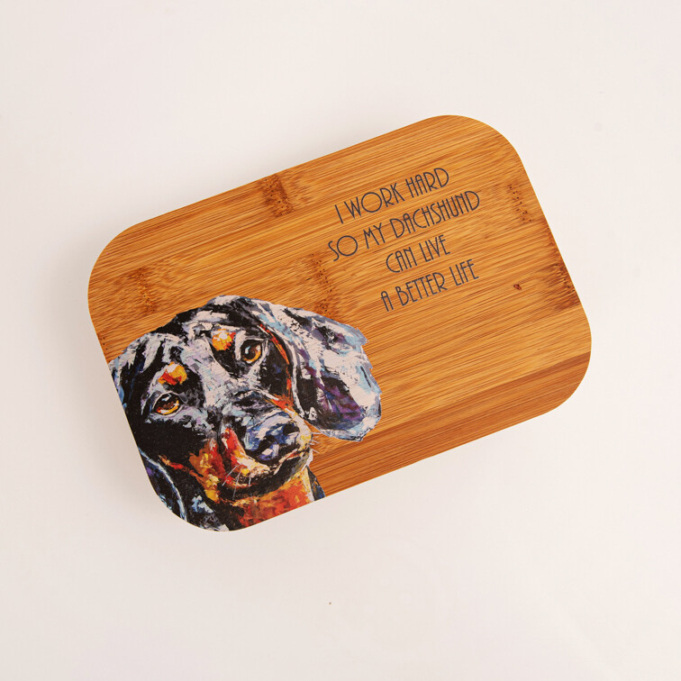 Bamboo Fibre Lunch Box - AI work hard so my Dachshund can have a better life