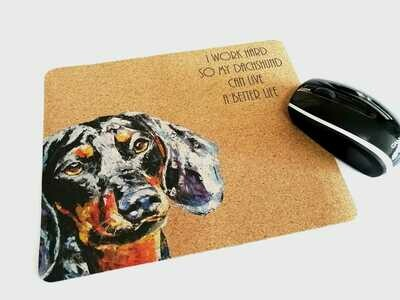 Mouse Pad - Cork Theme - AI work hard so my Dachshund can have a better life