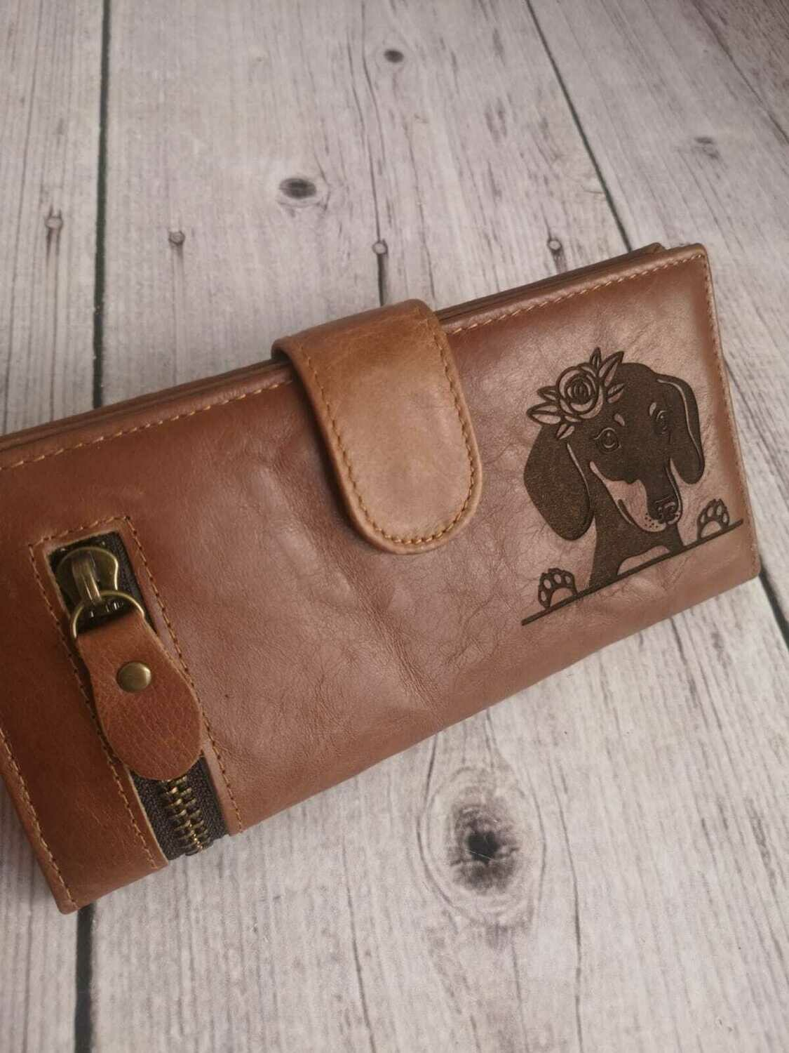 Exclusive Long Dog Wallet - Dachshund with Flowers