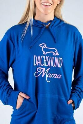 Dachshund Mama Hoodie  - Royal Blue with Pink Print