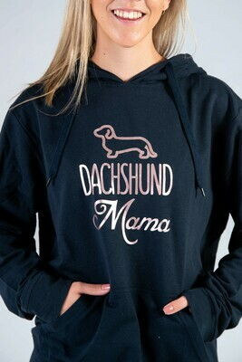 Dachshund Mama Hoodie  - Navy with Rose Gold Print