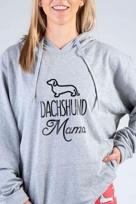 Dachshund Mama Hoodie  - Grey with Black Print