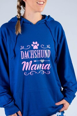Dachshund Mama + Pawprint Hoodie  - Royal Blue with Pink Print