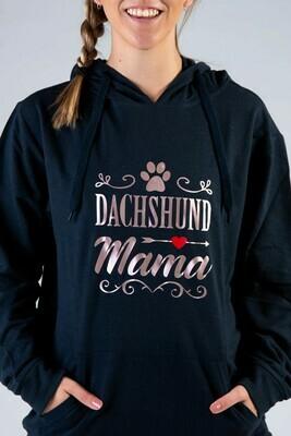 Dachshund Mama + Pawprint Hoodie  -  Navy with Rose Gold Print
