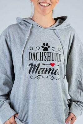 Dachshund Mama + Pawprint Hoodie  -  Grey with Black Print