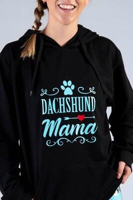 Dachshund Mama + Pawprint Hoodie  -  Black with Teal Print