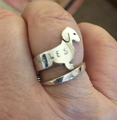 Sterling Silver Dachshund Wrap Ring with Stamped letters