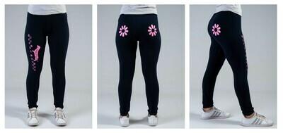 Leggings - Navy - Flower Design in Pink