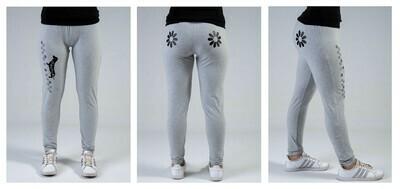 Leggings - Grey- Flower Design in Black