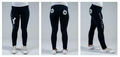 Leggings - Black- Flower Design in White