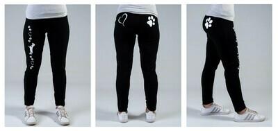 Leggings - Black- Heart and Pawprint Design in White