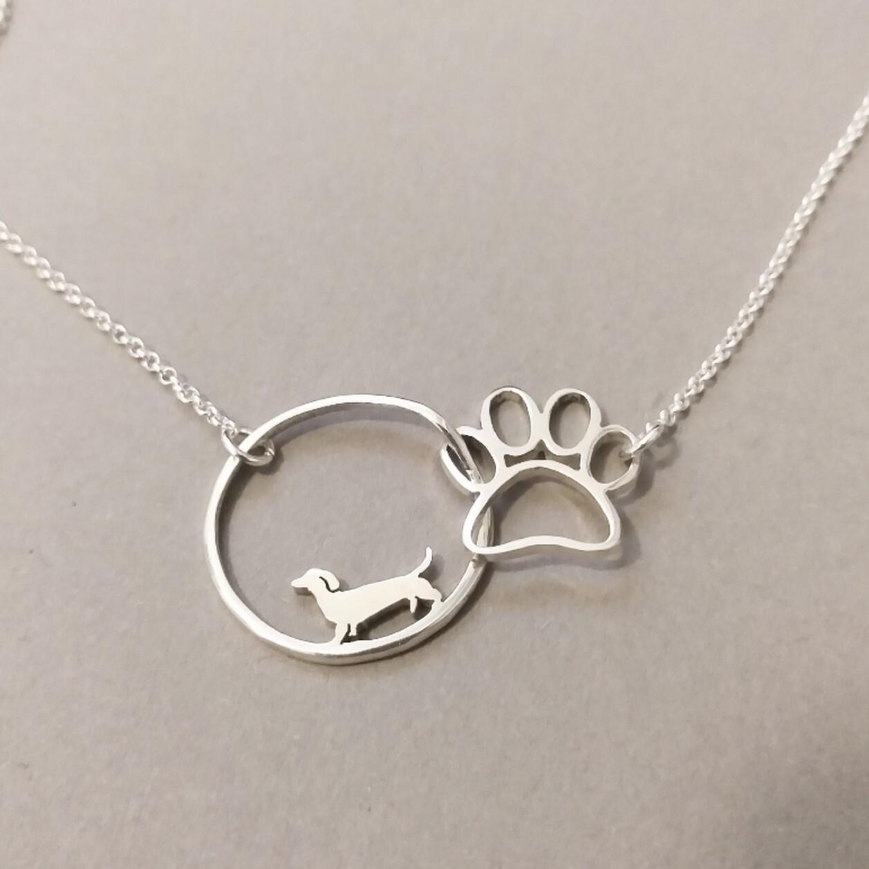 Dachshund Paw & Circle - Pendant & Chain