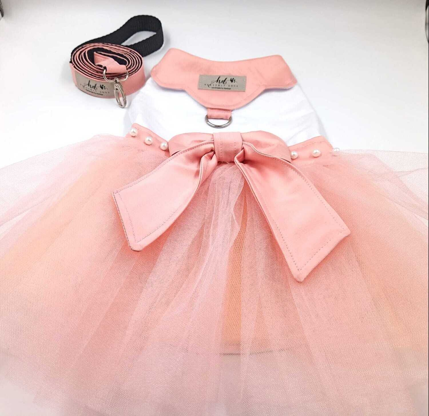 Pretty white and peach dress with satin bow and pearls - Two Sizes
