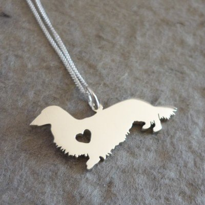 Sterling Silver Long Haired Dachshund Pendant & Chain